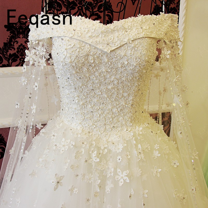 Romantic A-line Wedding Dress White Lace Flowers Crystal Pearls Ball Gown Wedding Gowns Bridal Dress Vestido De Noiva