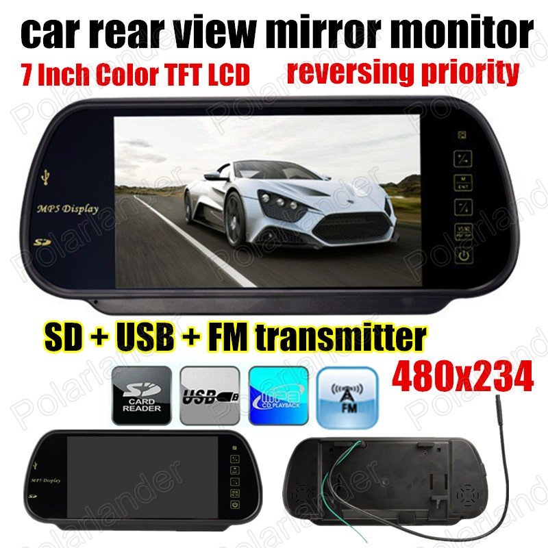 7 inch 480x234 TFT LCD reverse priority Car auto rear view Mirror parking Monitor USB SD MP5 FM transmitter for reverse camera