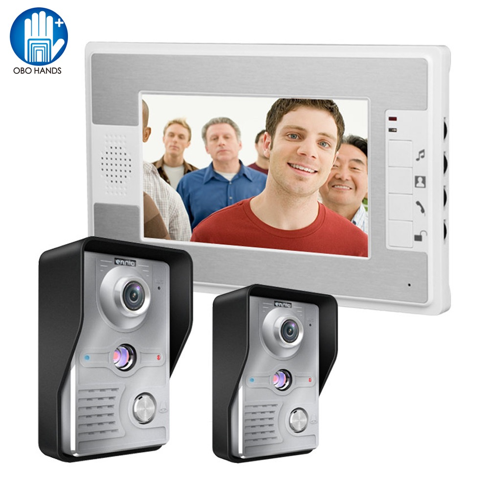 7 inch Wired Video Door Phone Doorbell Intercom Kit 2 Outdoor Camera with 1 indoor Monitor IR Night for Home Door Entry System jeatone 7 lcd monitor wired video intercom doorbell 1 camera 2 monitors video door phone bell kit for home security system
