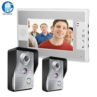 7 inch Wired Video Door Phone Doorbell Intercom Kit 2 Outdoor Camera with 1 indoor Monitor IR Night for Home Door Entry System