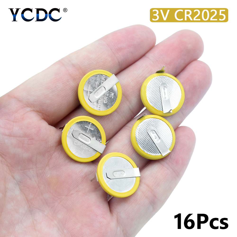 Battery CR2025 3V 2 Tabs Coin Cell For Main Board Toy Electronic Scale 16Pcs