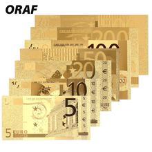 Банкноты 7 шт. античные покрытые высокое качество памятные банкноты коллекция антикварные реалистичные 24 к позолоченные евро золотые сувениры