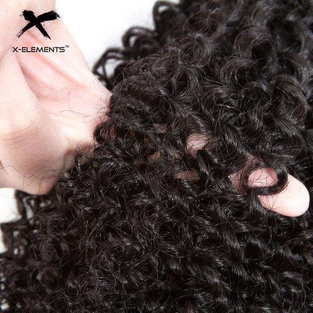 X-Elements Brazilian Kinky Curly Hair Bundles 1/3/4 Pcs Remy Human Hair Weave Bundles 8-28 Inch Natural Color Hair Extensions 5