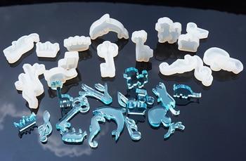 Transparente cristal moldes de silicona y epoxi notas musicales corona colgante delfín gatito adorno de perrito resina moldes para joyería