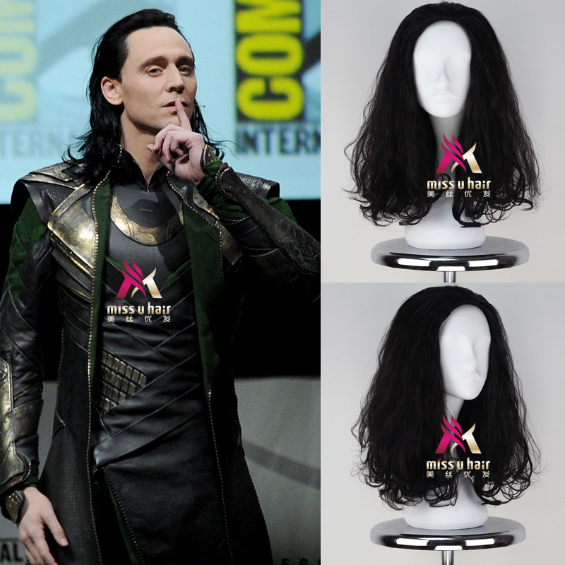 New Movie Thor Loki wig Play Hair The Avengers Comic Cosplay Marvel Halloween Costume Synthetic Refractory Fiber Wigs +wig cap