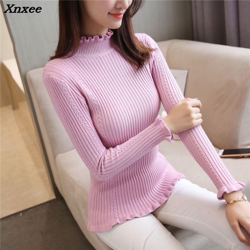 Xnxee autumn new twist stretch slim knit Turtleneck Shirt F1877 half lace