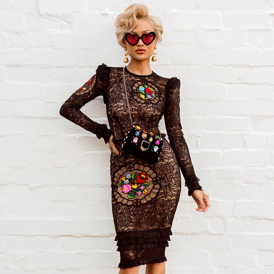 Adyce 2019 New Arrival Women Spring Celebrity Runway Party Dresses Vestidos Sexy Black Long Sleeve Lace