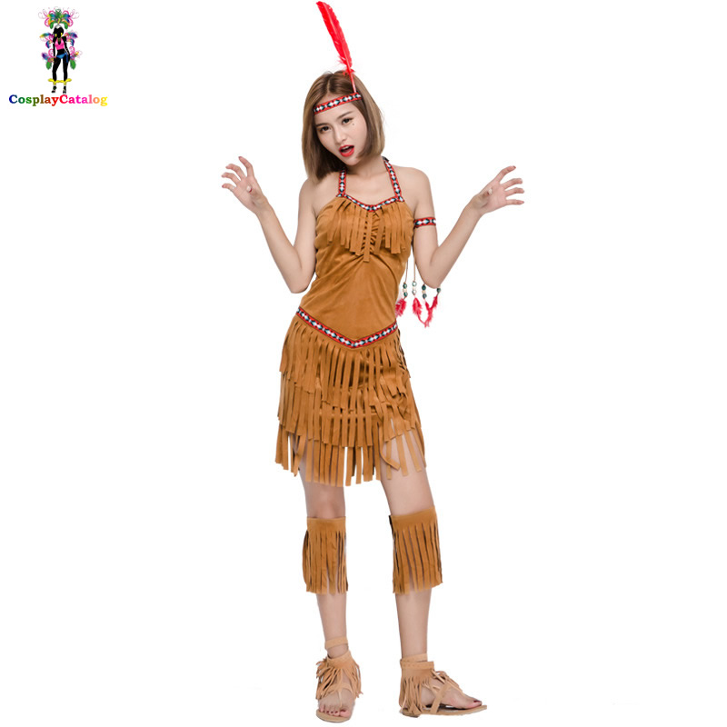 Indian Warrior Women Costume,sexy halloween costume,Campfire Party Cosplay Costumes Free Spirit Princess Indian Dresses