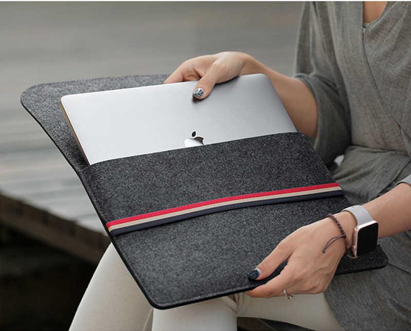 الصوف ورأى كم دفتر شنطة لحمل macbook برو الشبكية 11 12 13 14 15 حالة ل Xiaomi الهواء 12.5 13.3 15.6 سطح محمول 13.5 غطاء