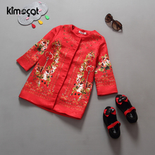Kimocat Winter Baby Girl Clothes Flower Embroidery Outerwear Coat Children Coat Kids Windbreaker Clothing Red Festive Christmas
