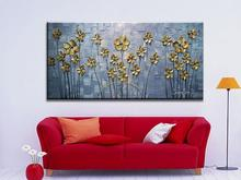 2016 Home Decor Real Picture Golden Leaf Oil Painting Handpainted Wall Art Modern Floral On Canvas Palette Knife free shipping