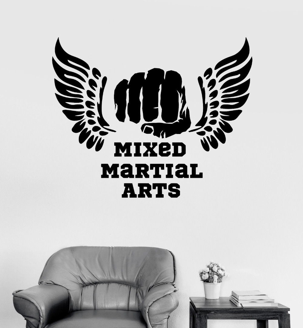 Modern Sports Room Vinyl Wall Decal Mixed Martial Arts Mma Quotes Fight Fighter Stickers Living Room Home Decor Wallpapers La784 Decor Wallpaper Vinyl Wall Decalswall Decals Aliexpress