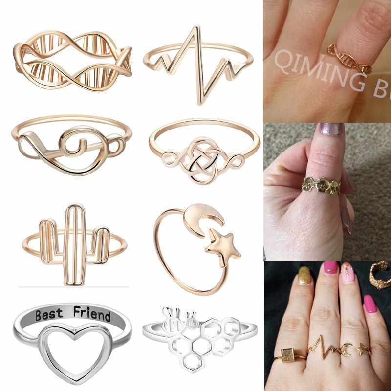 QIMING 2018 Cheap Woman Rings Bee Love Heart DNA Skull Ring For Women Girls Silver Fashion Boho Jewelry Birthday Gift Toe Ring
