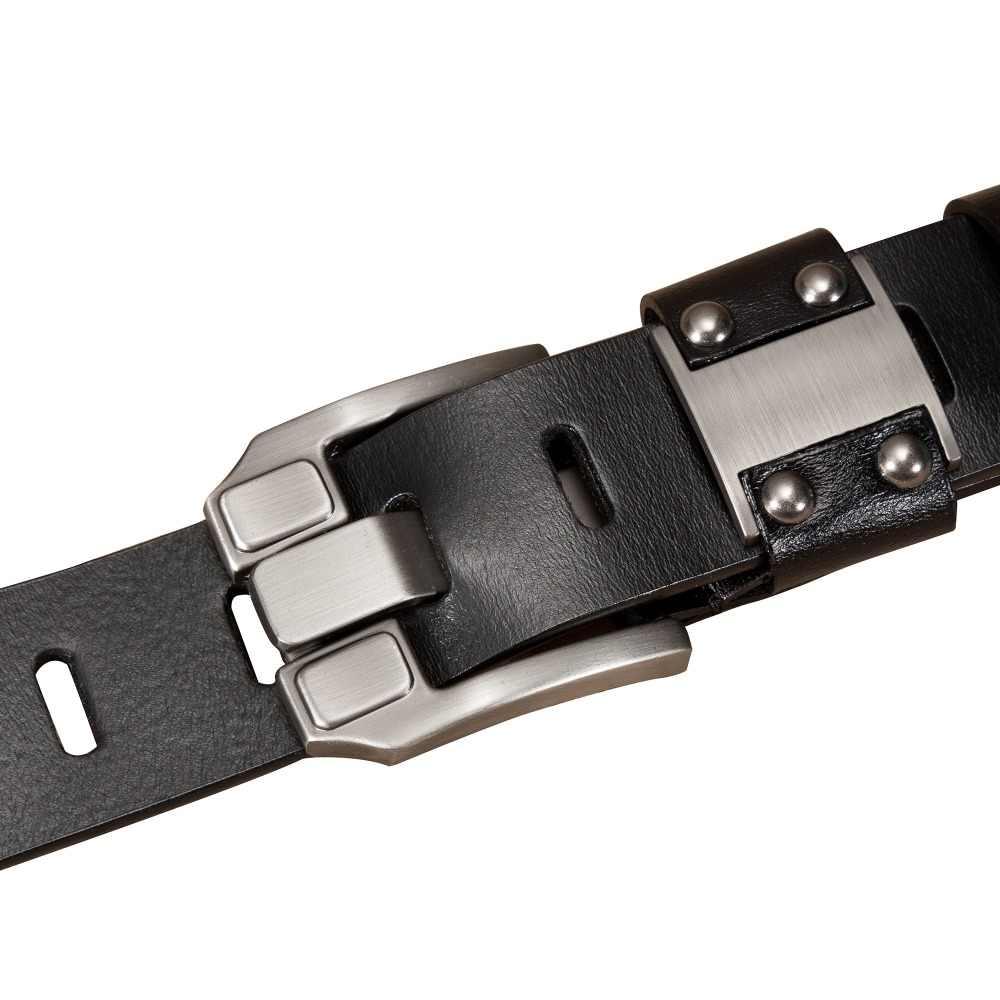 バイソンデニム男性のジーンズベルトピンバックル牛革本革ベルトヴィンテージブランドウエストバンドストラップベルト男性のための男性 n71350