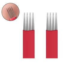 10pcs Permanent Makeup Eyebrow Tattoo 4X3 Bevel Round Needles Microblading Needle 3D Eyebrow Embroidery Fog Round Needle Red