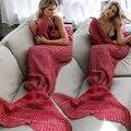Nueva Cola de Sirena Manta Adultos Camas Tiro Wrap Saco de dormir Suave Crochet Sirena Manta Ocasional