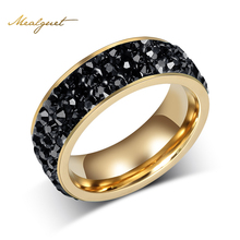 Meaeguet Fashion Women Crystal Rings Wholesale Gold-Color Stainless Steel Wedding Rings For Women Party Jewelry
