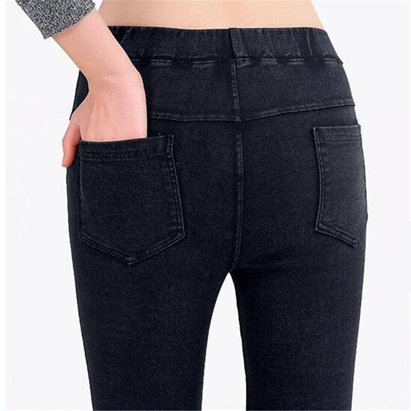 VANLEDBig Size Women Clothing 2018 Summer Jean Leggings Women 5XL Slim High Waist Casual Pocket Fitness Legging Thin Pencil Pant