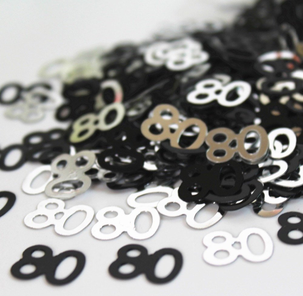 80TH Birthday Scatters Silver and Black BIRTHDAY PARTY SUPPLIES