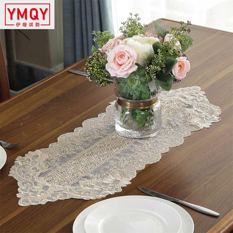 YMQY Koreaanse Kant Tafelloper Bruiloft Decoratie Witte Tafel Vlag Geborduurde Tafelkleden TV Kast Tafel Dekken