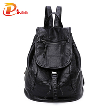 Lavado moda mochila bolsos de cuero estilo preppy mochila school girls bolsas de hombro cordón de las mujeres back pack