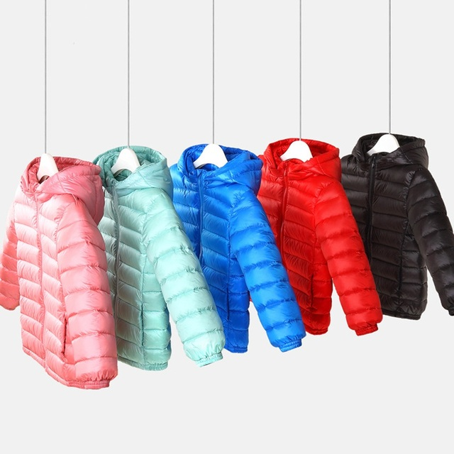 2017 Winter White Duck Down Jacket  Baby Girl Kids Warm Light Down Coat Baby Girls Boys Winter Coat Outwear D34