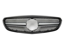 For Mercedes-Benz C-class W205 AMG 2014-on with Emblem Classic Style Black/silver/chrome Front Mesh Grille