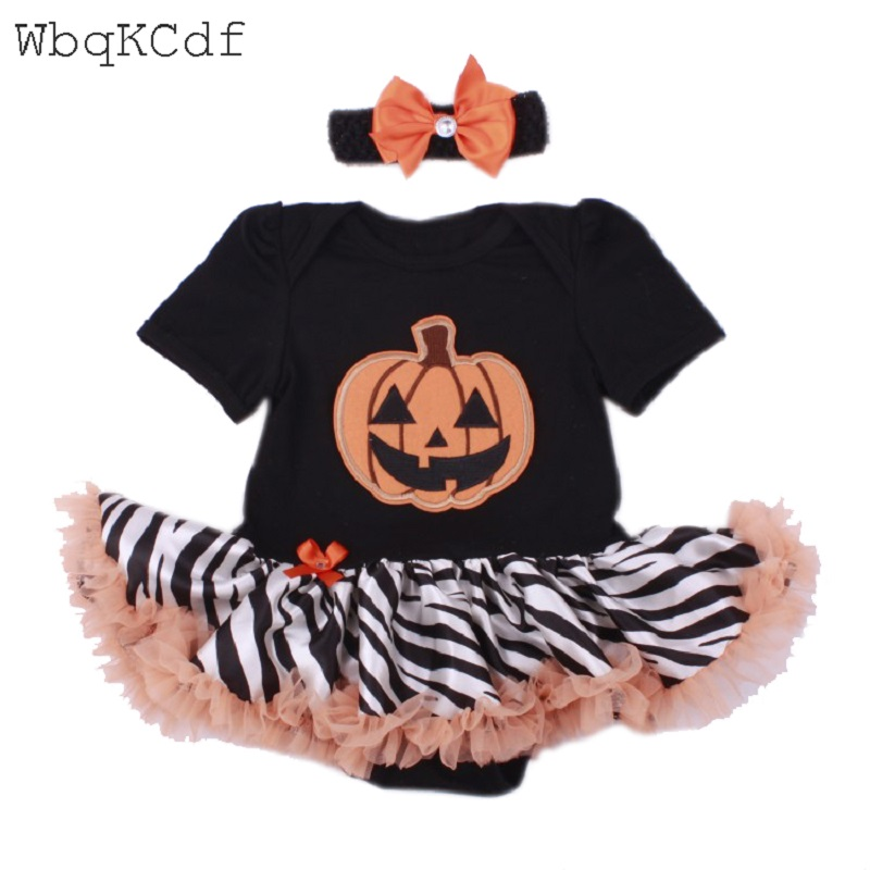 Happy Halloween Baby Rompers Lace Tutu Romper Dress Headband Infant Clothes Toddler Girl Clothing Halloween Pumpkin Outfits