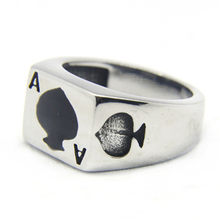 Support Dropship Size 7-13 Poker Spade Ace Ring 316L Stainless Steel Jewelry Fashion Party Ring(China)