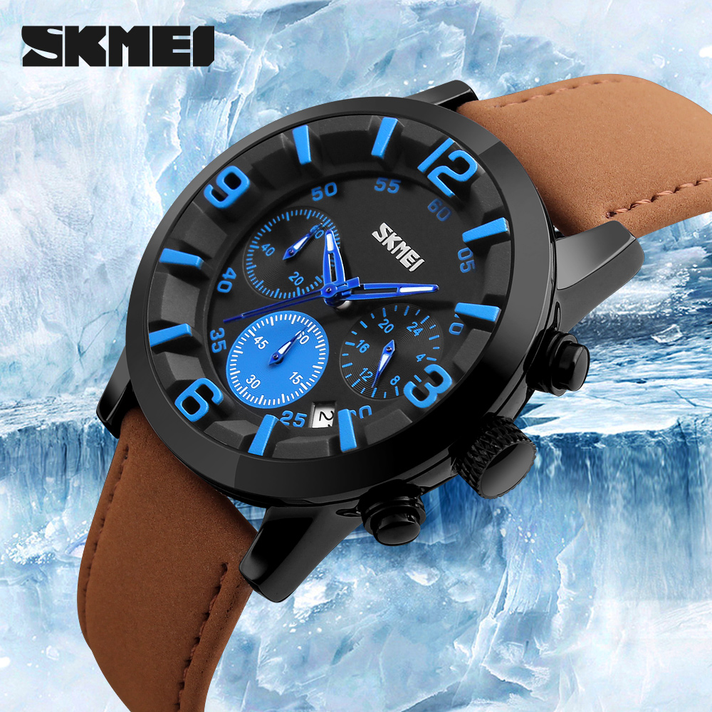 Luxury Six Pin Stopwatch Leather Strap Analog Men's Quartz Date Clock Fashion Casual Sports Watches Men Military Wrist Watch speatak sp9041g fashionable men s quartz watch w six stitch stopwatch black golden 1x lr626