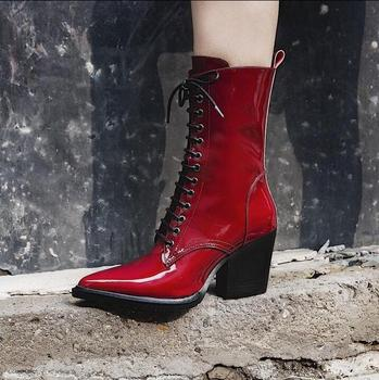 Genuine Leather Women Chelsea Boots Red Black Shinny Leather Lace-up Winter Motorcycle Boots Pointed Toe Short Ridding Boots