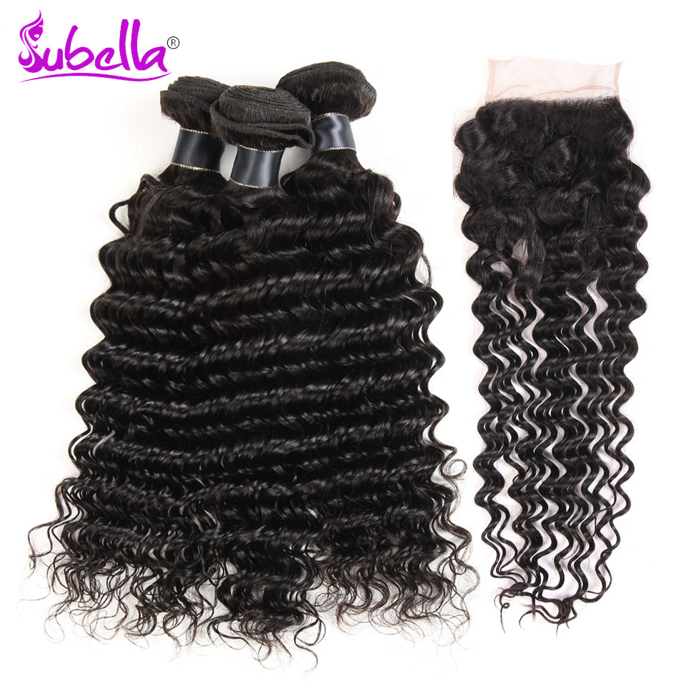 Subella Peruvian Deep Wave 3 Bundles With Closure Human Hair Bundles With Lace Closure Peruvian Hair Weave Bundle