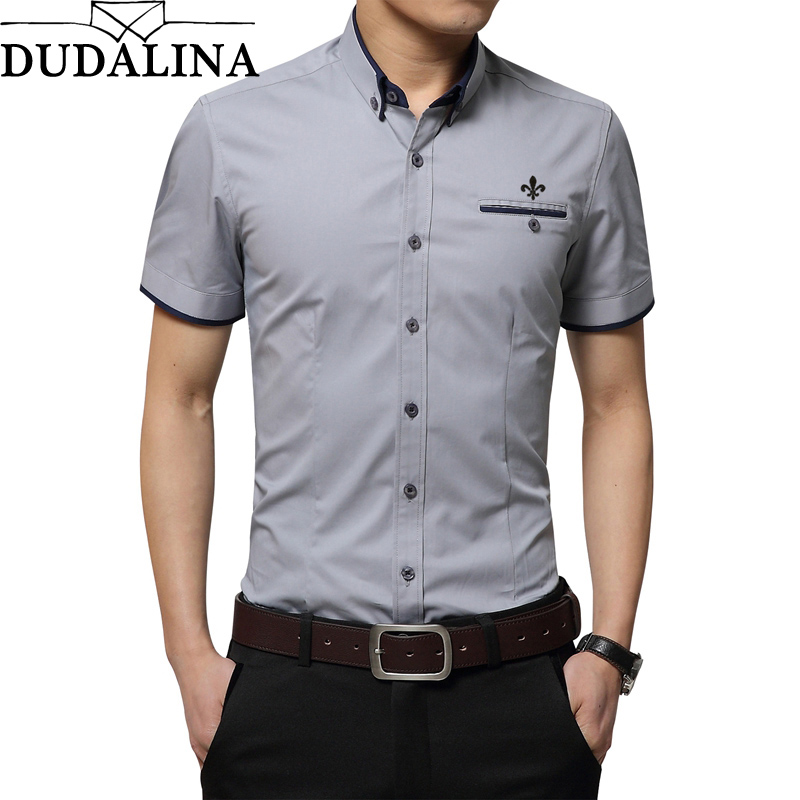 Dudalina 2019 Men Shirt Short Sleeve Casual Male Shirt Short Sleeve Male Shirt Office Shirt Spring Summer Style Solid