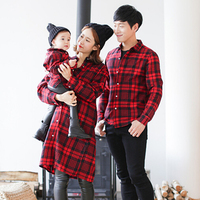 Family Matching Plaid Mother Daughter Father Son Shirts Mom and Daughter Blouses Clothes Family Clothing Family Style Set HP59