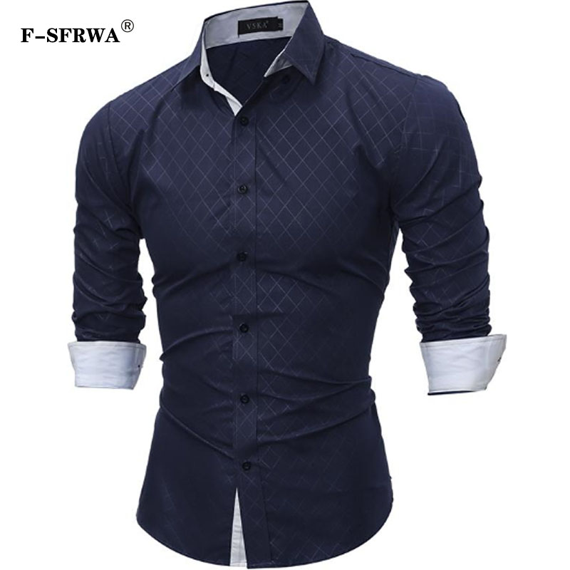 F-SFRWA Plaid Shirts Men 2019 Hot Sale Dress Long Sleeves Shirts Fashion Slim Fit Camisa Masculina Size XXXL Casual Men Shirts