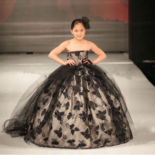 2016 Black Lace Ball Gown Kids Evening Gowns Lovely Kids Prom Dress ...