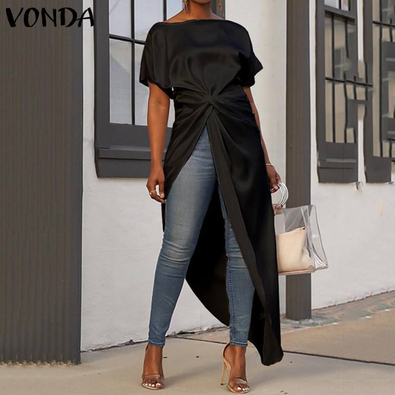 VONDA Oversized Women   Blouse   Casual Loose Split Hem Asymmetrical   Blouse   Summer Tops Sexy Party Long   Shirts   Female OL Blusa Tunic