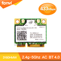 Dual Band Wireless-AC 3160 3160HMW половина Mini PCI-e bluetooth Беспроводная карта wi-fi WI-FI 802.11 ac + Bluetooth 4.0 до 433 Мбит/С