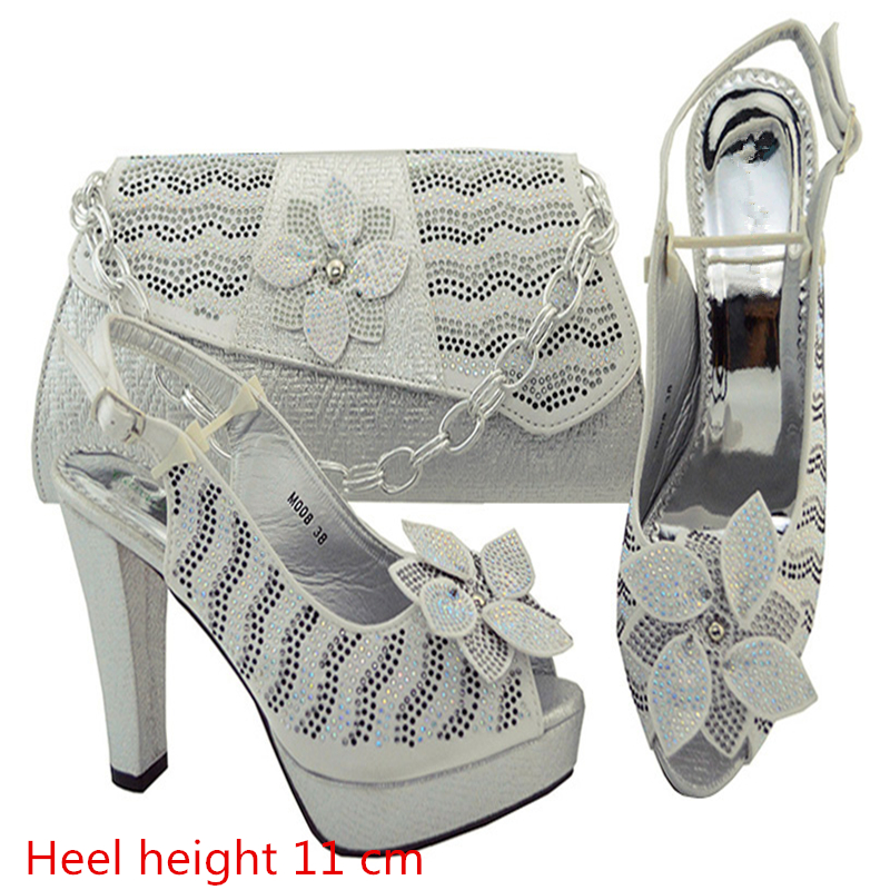 M008 Silver High Quality Italian Shoes With Matching Bags Latest Rhinestone African Women Shoes and Bags Set For Wedding 2016 italian shoes with matching bags for party high quality african shoes and bags set for wedding
