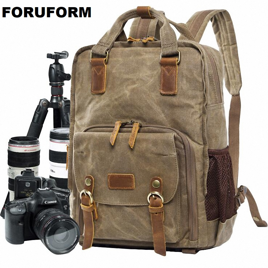 Professional Retro Fashion Casual Waterproof Canvas Camera Tripod Bag Photography Tripod DSLR Backpack for Canon Nikon