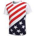 Kingsnower 2016 Новая Мода Лето мужской Футболки О-Образным Вырезом Хлопок плюс Размер Топ Tee Мужская Одежда США Американский Флаг Футболка Z6035