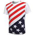 Kingsnower 2016 New Fashion Summer Men's T Shirts O-neck Cotton Plus Size Top Tee Men Clothing USA American Flag T-shirt Z6035