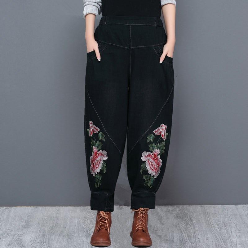 Embroidery harem pants for women plus size loose denim jeans cotton blend national trend elastic waist casual capris yfq0710