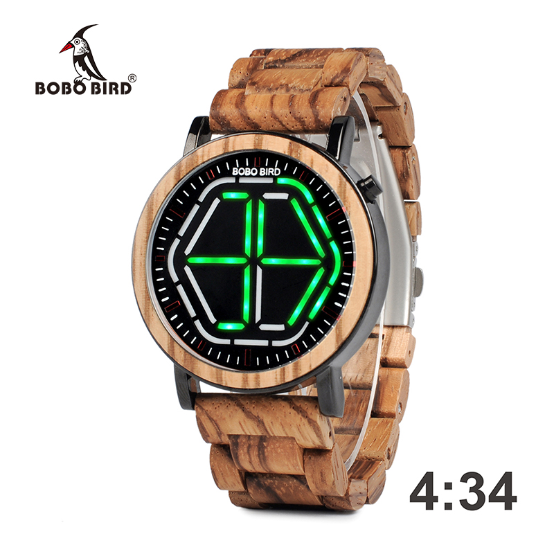 4 Colors BOBO BIRD Unique Mens Wooden Watches LED Digital Wristwatches With Wood Link saat erkek relojes Special Gift Item C P13