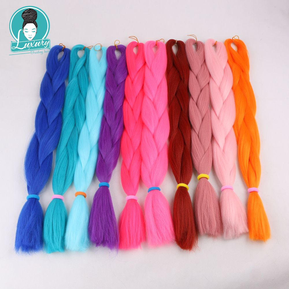 Jumbo Braids Luxury 1pack 24 60cm Folded 80grams Navy Neon Olive Green Lavender Lilac Vintage Pink Kanekalon Synthetic Jumbo Braiding Hair Hair Braids