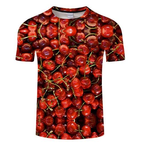 Cherry Print tshirt 3D t-shirt Men Women T shirt Quality Tee Streatwear Top 6XL Casual Camiseta Short Sleeve O-neck Drop ship
