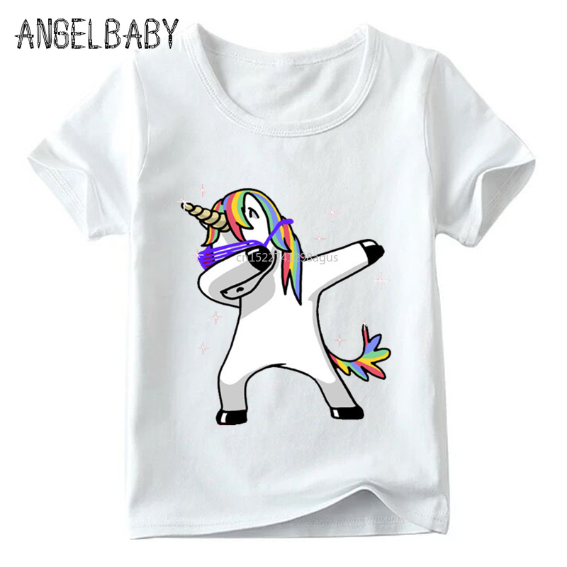 Children Cartoon Dabbing Unicorn Funny T Shirt Baby Boys/Girls Summer Tops Short Sleeve T-shirt Kids Cute Clothes,ooo2197