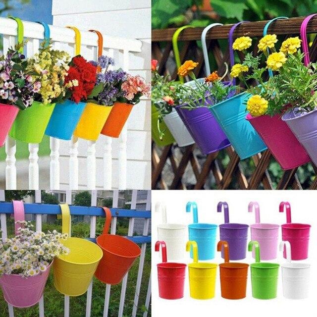 10 Colors Garden Plant Planter Home Decoration Hanging Pots Metal Iron Flower Pot Balcony