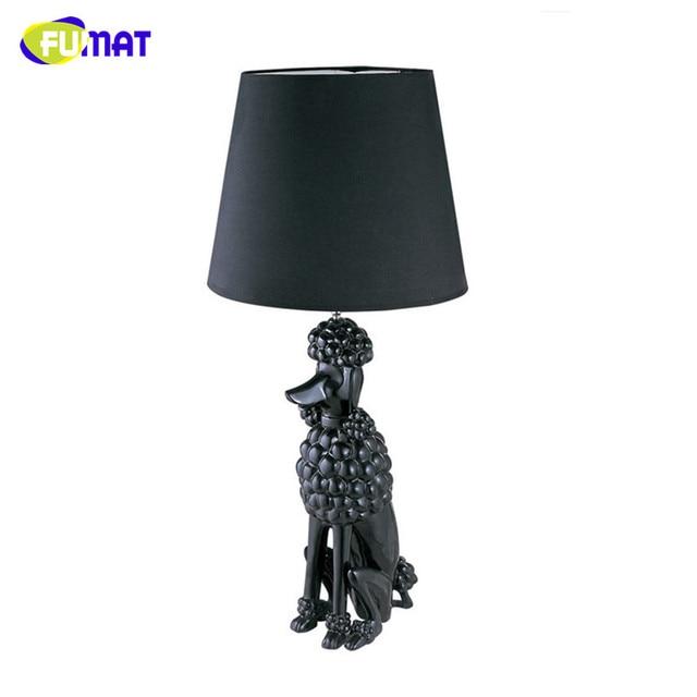 FUMAT Modern Art Deco Pudel Tischlampe Wohnzimmer Nachttischlampe Fr Schlafzimmer Schwarz Weiss Harz Lampe