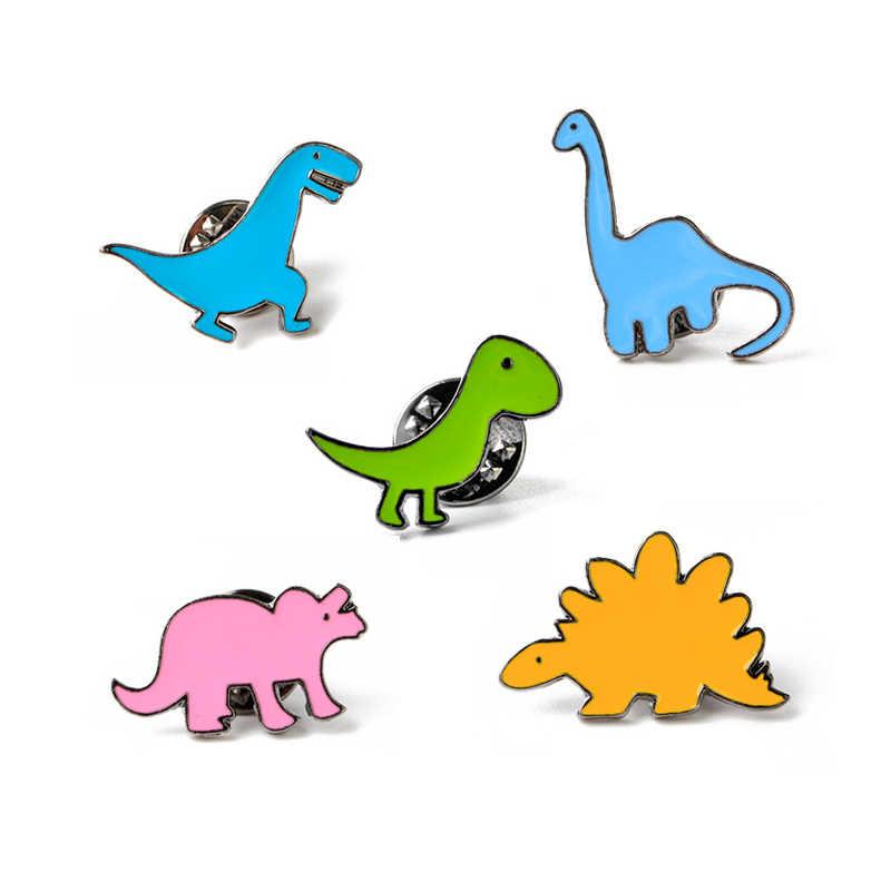 Animal Dinossauro Bonito Bolsa Flor Pins Broches Para As Mulheres Casaco Chapéu Dos Desenhos Animados Boca Pacote Carro de Metal Emblema Do Pin Broche Criança presentes
